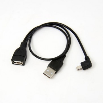 Micro USB Host OTG Cable Left Angle with USB 2.0 Male Power