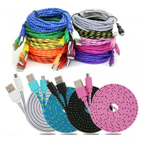 1M/2M/3M Braided Fabric Micro USB Data & Sync Charger Cable