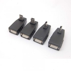 Angle Female USB 2.0 to 5-pin B Male Mini USB 2.0 OTG Host Adapter